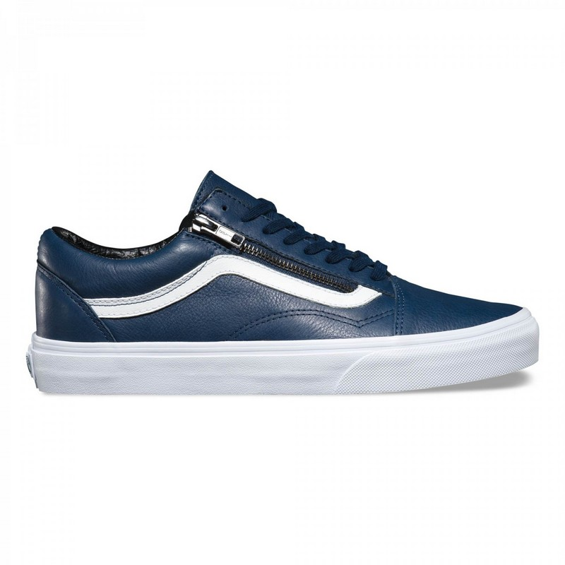 Basket Vans Antique Old Skool Zip Cuir Femme Bleu Blanche