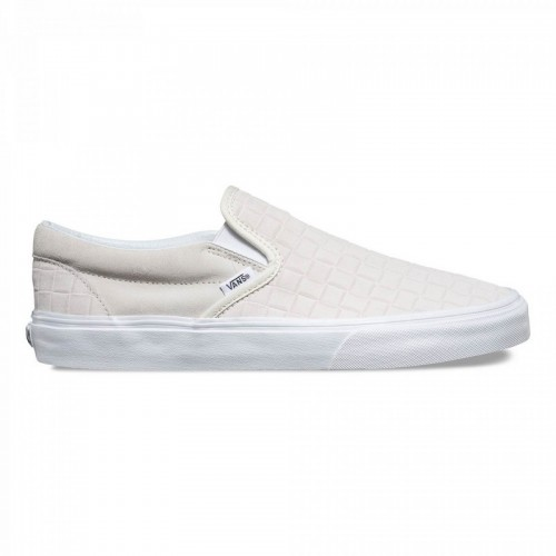 Nouvelle Vans Checkers Classic Slip-On Suede Homme Blanche